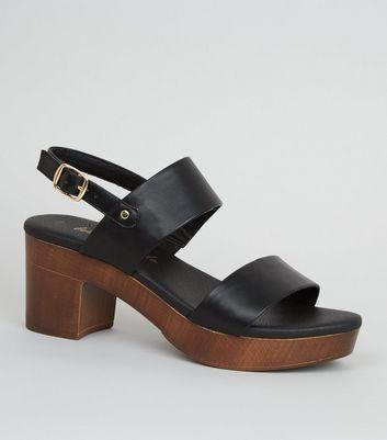 Black Leather-Look Wood Platform Block