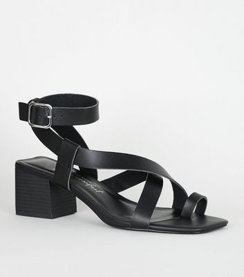 Black Leather-Look Strappy Block Heel