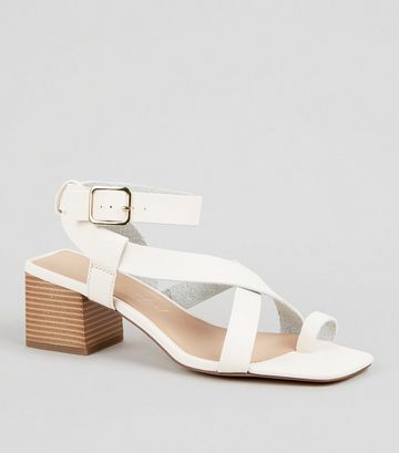 Off White Leather-Look Strappy Block Heel Sandals