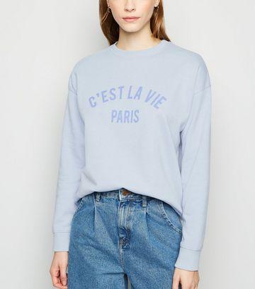 Blue C'est La Vie Paris Slogan Sweatshirt