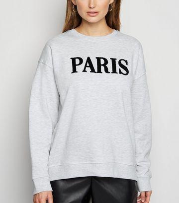 Pale Grey Paris Textured Slogan Sweatshirt