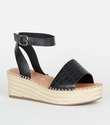 espadrille flatform sandals black