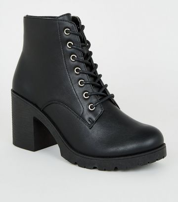 Black Leather-Look Lace Up Heeled Boots