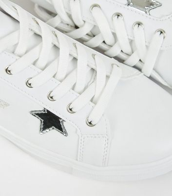 White Leather-Look Side Star Trainers