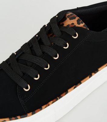 Black Suedette Leopard Print Lace-Up