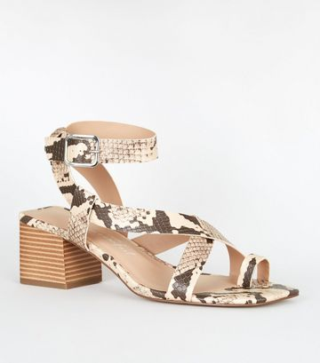 Stone Faux Snake Strappy Block Heel Sandals