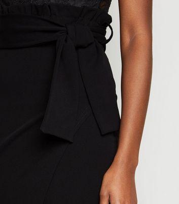 Missfiga Black High Tie Waist Wrap Midi Skirt New Look