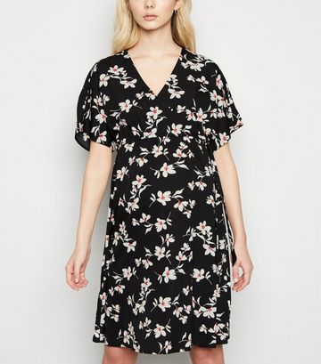 Maternity Black Floral Wrap Mini Dress