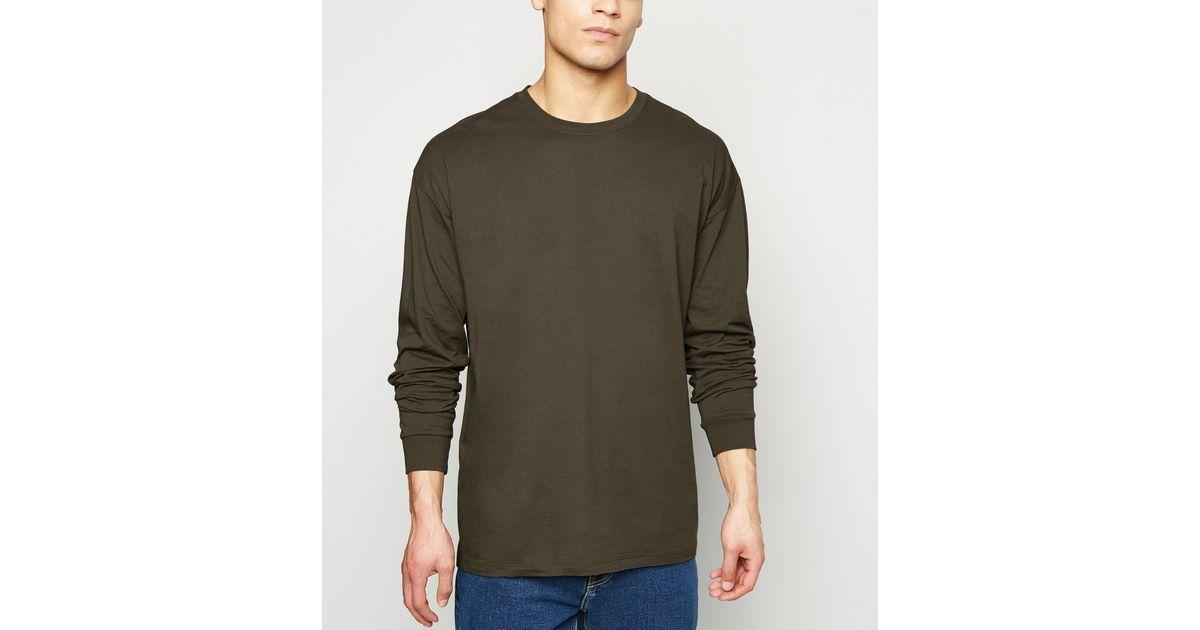 Khaki Plain Long Sleeve Oversized T-Shirt   New Look