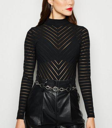 Black Mesh Stripe Turtleneck Bodysuit