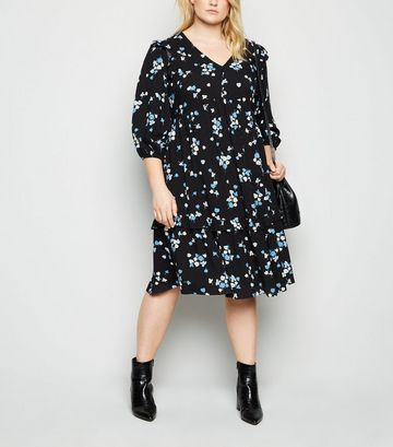 Curves Black Floral Frill Empire Dress
