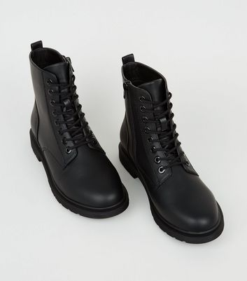 Wide Fit Black Lace Up Flat Ankle Boots