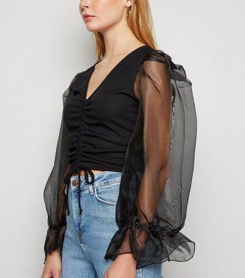 Influence Black Organza Sleeve Ruched Top New Look