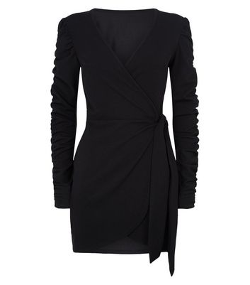 Influence Black Ruched Sleeve Wrap Dress New Look