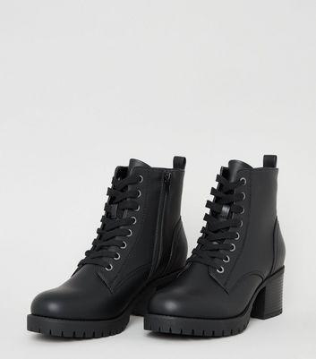 Black Leather-Look Chunky Heel Biker