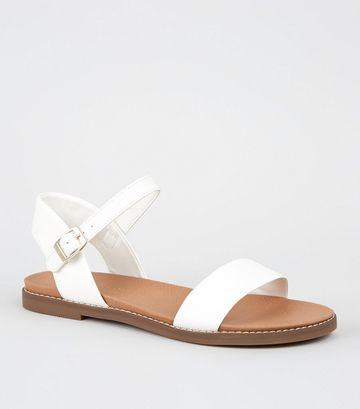 White Faux Snake Footbed Sandals