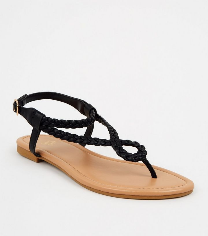 Girls Black Leather-Look Plait Strap Sandals | New Look