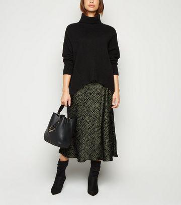 Khaki Bias Cut Animal Print Satin Midi Skirt