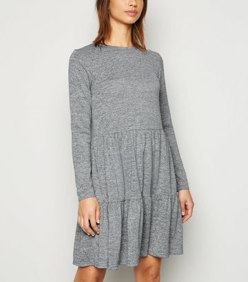 Grey Fine Knit Tiered Mini Smock Dress