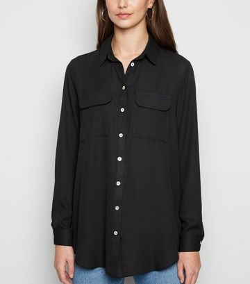 Black Utility Pocket Long Sleeve Shirt