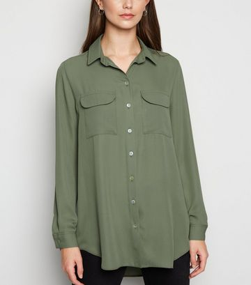 Khaki Utility Pocket Long Sleeve Shirt