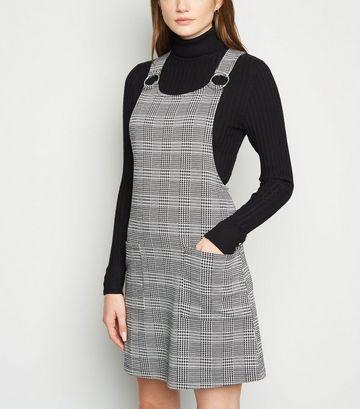 Black Check Ring Strap Pinafore Dress