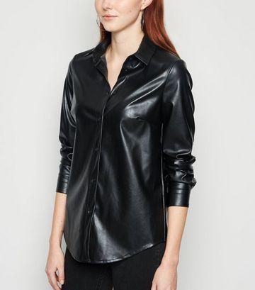 Black Leather-Look Long Sleeve Shirt