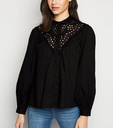 Black Broderie Long Puff Sleeve Shirt