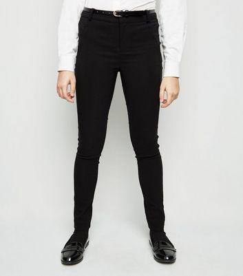 Girls – Schwarze, superenge Skinny Hose mit Gürtel Für später speichern Von gespeicherten Artikeln entfernen