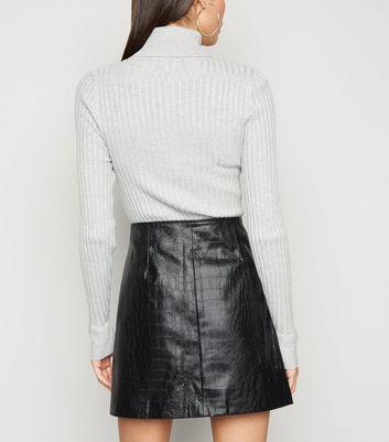 NA-KD Black Faux Croc Leather-Look Mini Skirt New Look