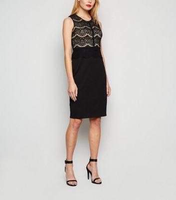 Apricot Black Lace Panel Midi Bodycon Dress New Look