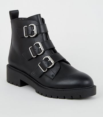 Black Leather-Look 3 Buckle Chunky Boots