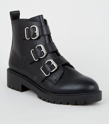 Black Leather-Look 3 Buckle Chunky