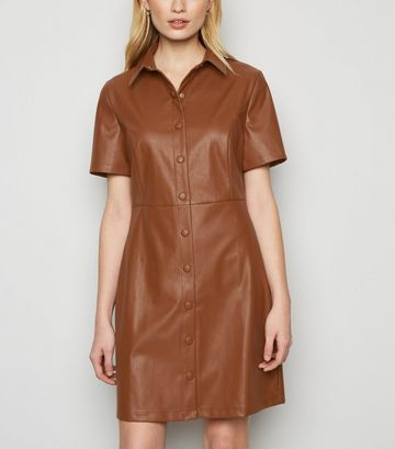 Tan Coated Leather-Look Shirt Dress