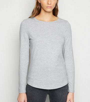 Grey Marl Long Sleeve Crew T-Shirt