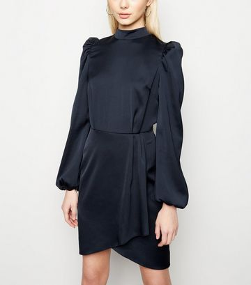 Navy Satin Puff Long Sleeve Mini Dress