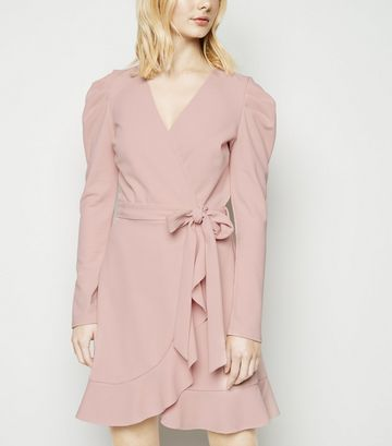 Pale Pink Puff Shoulder Mini Wrap Dress