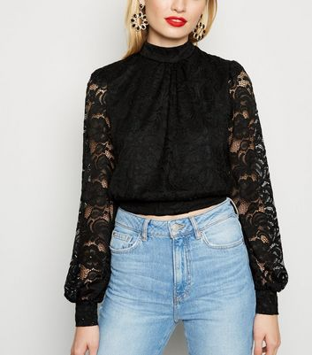 Black Lace Tie Back High Neck Top by New Look
