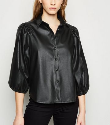 Black Coated Leather-Look Balloon Sleeve Shirt