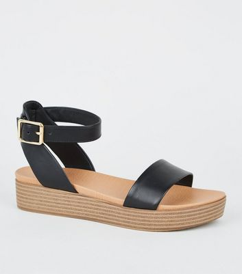 Girls Black Leather-Look Footbed
