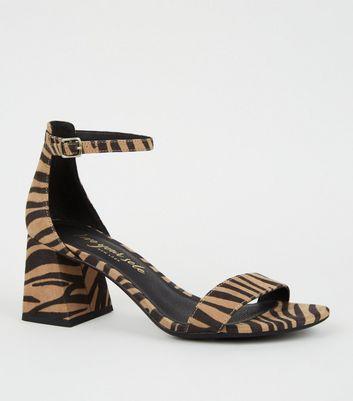 Stone Tiger Print Block Heel Sandals