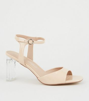 Wide Fit Cream Patent Clear Heel