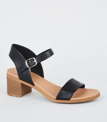 Girls Black Leather-Look Heeled Footbed