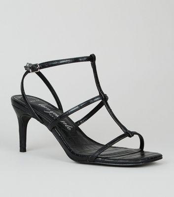 shop for Wide Fit Black Faux Croc Strappy Stiletto Sandals New Look Vegan at Shopo