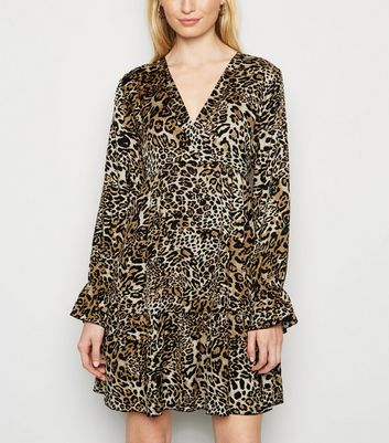 Brown Leopard Print Satin Smock Dress by New Look