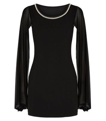 Missfiga Black Faux Pearl Bodycon Dress New Look
