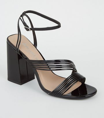 Black Patent Strappy Flared Heel Sandals