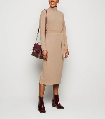 Stone Ribbed Roll Neck Belted Midi Dress