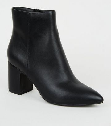 Black Pointed Block Heel Ankle Boots