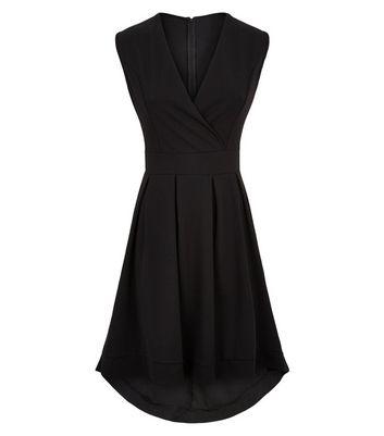 Mela Black Dip Hem Wrap Dress New Look
